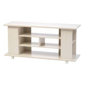 """IRIS Large TV Stand With Wheels, 22-3/8""""H x 46-7/8""""W x 15-5/16""""D, White"""
