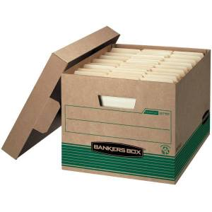 """Bankers Box Stor/File Medium-Duty Storage Boxes With Lift-Off Lids, Letter/Legal Size, 10"""" x 12"""" x 15"""", 100% Recycled, Kraft/Green, Case Of 20"""