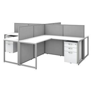 """Bush Business Furniture Easy Office 60""""W 4-Person L-Shaped Cubicle Desk With Drawers And 45""""H Panels, Pure White/Silver Gray, Premium Installation"""