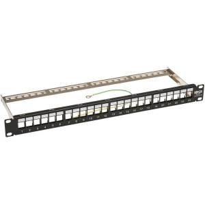 "Tripp Lite 24-Port Shielded Blank Patch Panel RJ45 USB HDMI Cat5e/6 1URM TAA - 24 Port(s) - 1U High - Black - 19"" Wide - Rack-mountable"