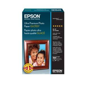 """Epson Ultra Premium Glossy Photo Paper, 4"""" x 6"""", 79 Lb, Pack Of 100 Sheets"""