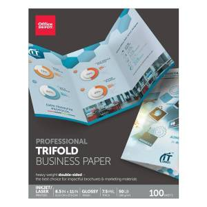 """Office Depot Brand Double-Sided Presentation Paper, Glossy, Tri-Fold, Letter Size (8 1/2"""" x 11""""), 50 Lb, Ream Of 100 Sheets"""
