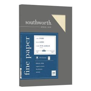 """Southworth 25% Cotton Linen Cover Stock, 8 1/2"""" x 11"""", 65 Lb, FSC Certified, 55% Recycled, Ivory, Pack Of 100"""