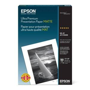 "Epson Ultra Premium Matte Presentation Paper, 13"" x 19"", 104 Brightness, 51 Lb, Pack Of 50 Sheets"
