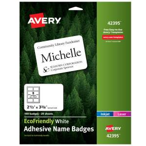 """Avery EcoFriendly 100% Recycled Name Badges, 2 1/3"""" x 3 3/8"""", White, Pack Of 160"""