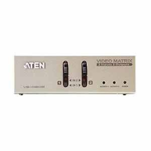 Aten VS0202 2-Port Video Matrix Switch-TAA Compliant - 2 x HD-15 Video In, 2 x HD-15 Video Out, 2 x Audio Line In, 2 x Audio Line Out - 1600 x 1200 @