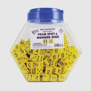 Koplow Games Yellow Spot And Number 16mm Foam Dice, Ages 5-18