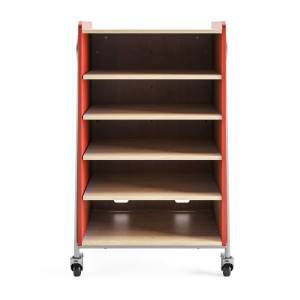 """Safco Whiffle Double-Column 4-Shelf Rolling Storage Cart, 48""""H x 30""""W x 19-3/4""""D, Red"""