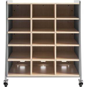 "Safco Whiffle Triple-Column 15-Shelf Rolling Storage Cart, 48""H x 43-1/4""W x 19-3/4""D, Gray"