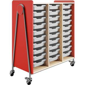 """Safco Whiffle Triple-Column 30-Drawer Rolling Storage Cart, 48""""H x 43-1/4""""W x 19-3/4""""D, Red"""