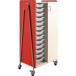 """Safco Whiffle Double-Column Rolling Storage Cart With Wardrobe Bar, 60""""H x 30""""W x 19-3/4""""D, Red"""