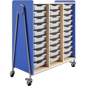 "Safco Whiffle Triple-Column 30-Drawer Rolling Storage Cart, 48""H x 43-1/4""W x 19-3/4""D, Spectrum Blue"