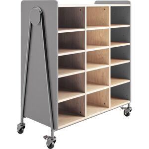 "Safco Whiffle Triple-Column 15-Shelf Rolling Storage Cart, 48""H x 43-1/4""W x 19-3/4""D, Red"