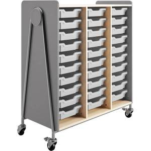 """Safco Whiffle Triple-Column 30-Drawer Rolling Storage Cart, 48""""H x 43-1/4""""W x 19-3/4""""D, Gray"""