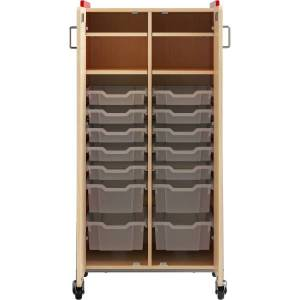 """Safco Whiffle Double-Column 14-Drawer Mobile Storage Cart, 60""""H x 30""""W x 19-3/4""""D, Red"""