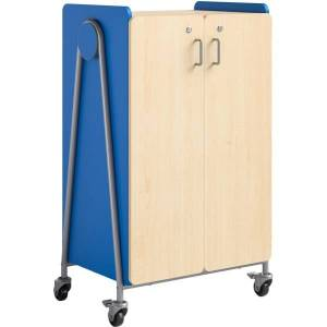 """Safco Whiffle Double-Column 12-Drawer Mobile Storage Cart, 48""""H x 30""""W x 19-3/4""""D, Spectrum Blue"""