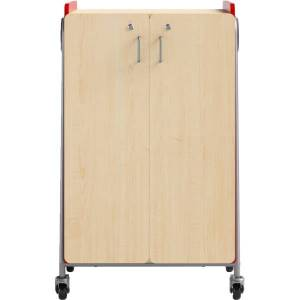 """Safco Whiffle Double-Column 12-Drawer Mobile Storage Cart, 48""""H x 30""""W x 19-3/4""""D, Red"""