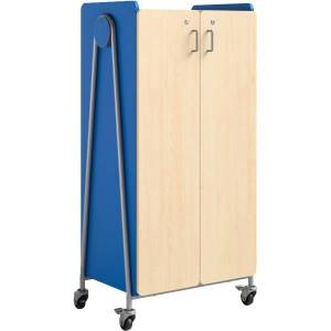 """Safco Whiffle Double-Column 14-Drawer Mobile Storage Cart, 60""""H x 30""""W x 19-3/4""""D, Spectrum Blue"""