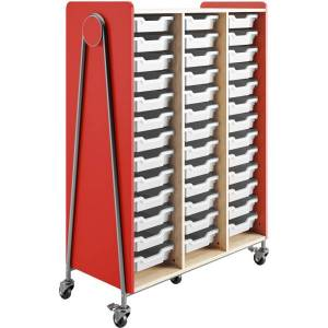 """Safco Whiffle Triple-Column 39-Drawer Mobile Storage Cart, 60""""H x 43-1/4""""W x 19-3/4""""D, Red"""