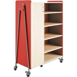 """Safco Whiffle Triple-Column 13-Drawer Rolling Storage Cabinet, 60""""H x 43-1/4""""W x 19-3/4""""D, Red"""