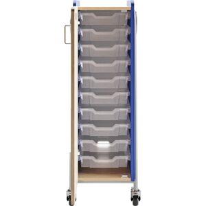 "Safco Whiffle Single-Column 10-Drawer Rolling Storage Cart, 48""H x 16-1/2""W x 19-3/4""D, Spectrum Blue"