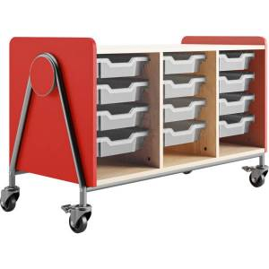 """Safco Whiffle Triple-Column 12-Drawer Rolling Storage Cart, 27-1/4""""H x 43-1/4""""W x 19-3/4""""D, Red"""