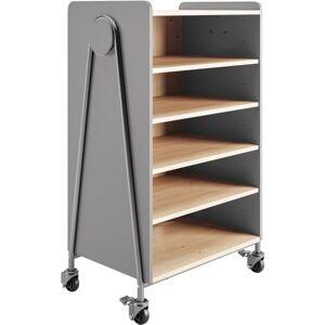 "Safco Whiffle Double-Column 4-Shelf Rolling Storage Cart, 48""H x 30""W x 19-3/4""D, Gray"