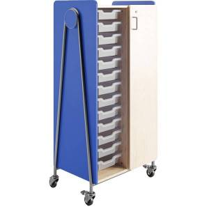 """Safco Whiffle Double-Column Rolling Storage Cart With Wardrobe Bar, 60""""H x 30""""W x 19-3/4""""D, Spectrum Blue"""