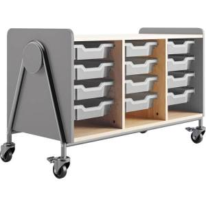 """Safco Whiffle Triple-Column 12-Drawer Rolling Storage Cart, 27-1/4""""H x 43-1/4""""W x 19-3/4""""D, Gray"""