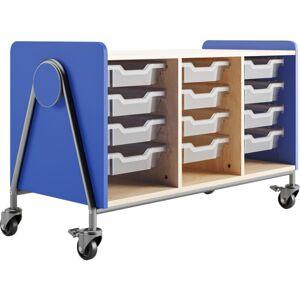 "Safco Whiffle Triple-Column 12-Drawer Rolling Storage Cart, 27-1/4""H x 43-1/4""W x 19-3/4""D, Spectrum Blue"