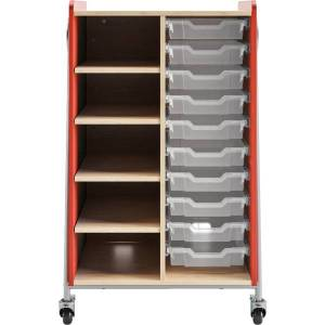 """Safco Whiffle Double-Column 10-Drawer Storage Cart, 48""""H x 30""""W x 19-3/4""""D, Red"""
