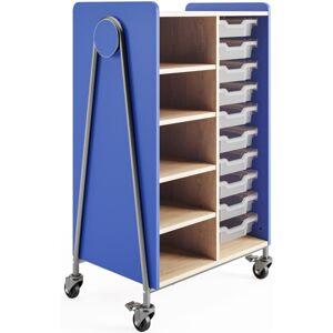 "Safco Whiffle Double-Column 10-Drawer Storage Cart, 48""H x 30""W x 19-3/4""D, Spectrum Blue"