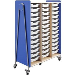 "Safco Whiffle Triple-Column 39-Drawer Mobile Storage Cart, 60""H x 43-1/4""W x 19-3/4""D, Spectrum Blue"