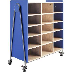 "Safco Whiffle Triple-Column 15-Shelf Rolling Storage Cart, 48""H x 43-1/4""W x 19-3/4""D, Spectrum Blue"