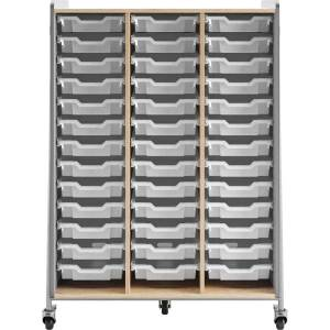 "Safco Whiffle Triple-Column 39-Drawer Mobile Storage Cart, 60""H x 43-1/4""W x 19-3/4""D, Gray"