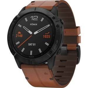 "Garmin fÄnix 6X Sapphire GPS Watch - Wrist - 1.4"" - 280 x 280 - Touchscreen - Bluetooth - Wireless LAN - GPS - 1104 Hour - Round - 2.01"" - Black"