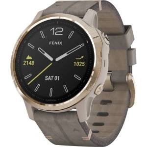"Garmin finix 6S Sapphire GPS Watch - Touchscreen - Bluetooth - Wireless LAN - GPS - 480 Hour - Round - 1.65"" - Light Gold Case - Shale Gray Band - Sap"
