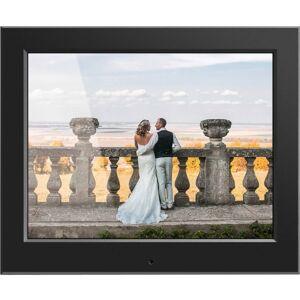 "Aluratek 8"" Slim Digital Photo Frame with Auto Slideshow Feature - 8"" LCD Digital Frame - Black - 1024 x 768 - Cable - 4:3 - JPEG - Slideshow, Clock,"
