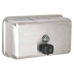 """Alpine Horizontal Manual Surface-Mounted Liquid Soap Dispenser, 4-13/16""""H x 8-1/8""""W x 2-13/16""""D, Stainless Steel"""