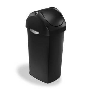 "simplehuman Square Swing-Lid Plastic Trash Can, 15 Gallons, 32-4/5""H x 13-1/2""W x 16-7/10""D, Black"
