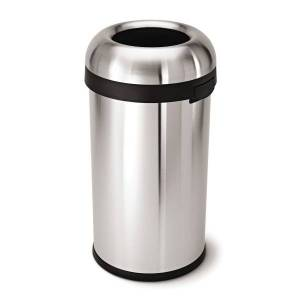"""simplehuman Bullet Round Heavy-Gauge Open-Top Commercial Trash Can, 16 Gallons, 29-4/5""""H x 16-1/10""""W x 15-4/5""""D, Brushed Stainless Steel"""