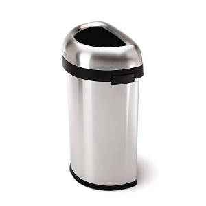 """simplehuman Semi-Round Open-Top Commercial Stainless-Steel Trash Can, 16 Gallons, 29-9/10""""H x  18-1/2""""W x 13-1/10""""D, Brushed Stainless Steel"""