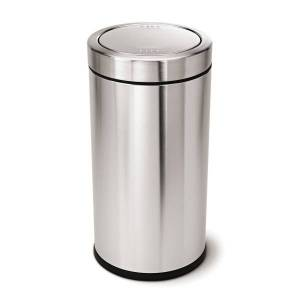 simplehuman Swing-Top Commercial Trash Can, 14.5 Gallons, Brushed Stainless Steel