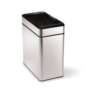 """simplehuman Rectangular Open-Top Metal Trash Can, 2.6 Gallons, 13-1/16""""H x 6-1/4""""W x 11-3/10""""D, Brushed Stainless Steel"""