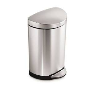 """simplehuman Semi-Round Metal Fingerprint-Proof Step Trash Can, 2.6 Gallons, 17-1/2""""H x 11-1/5""""W x 10-3/5""""D, Brushed Stainless Steel"""