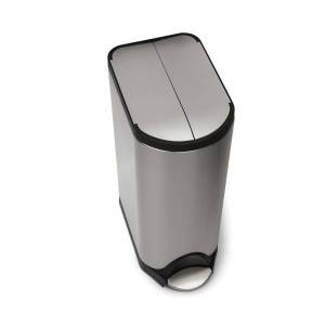 simplehuman Butterfly Step Fingerprint-Proof Trash Can, 8 Gallons, Brushed Stainless Steel
