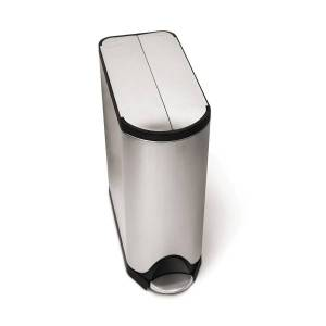 simplehuman Butterfly Step Fingerprint-Proof Trash Can, 12 Gallons, Brushed Stainless Steel