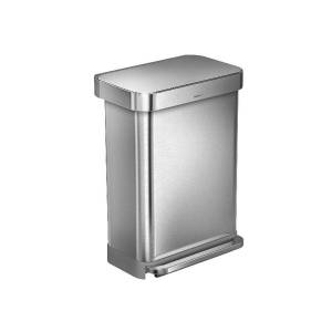 simplehuman Rectangular Step Can With Liner Pocket, 12 Gallons, Brushed Stainless Steel