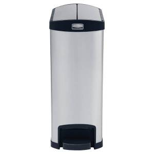 Rubbermaid Slim Jim Step-On Stainless Steel End Step Container, 13 Gallons, Black