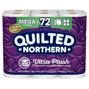 Quilted Northern Ultra Plush 3-Ply Mega Toilet Paper, 284 Sheets Per Roll, Pack Of 18 Rolls
